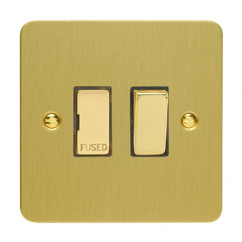 Varilight XFB6D Ultraflat Brushed Brass 1 Gang 13A Switched Fused Spur